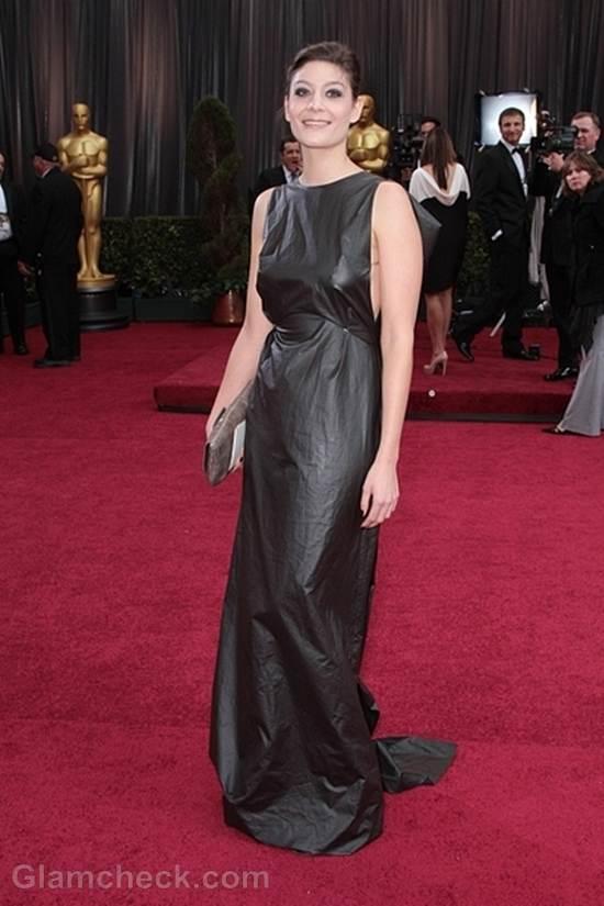 Oscars 2012 celebrities black gray gowns Anne-Sophie Bion