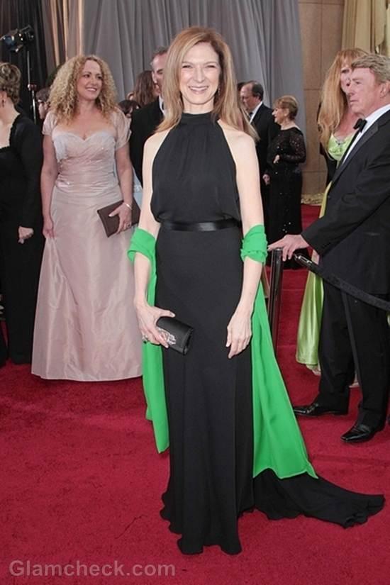 Oscars 2012 celebrities black gray gowns Dawn Hudson