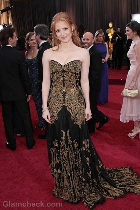 Oscars 2012 celebrities black gray gowns Jessica Chastain