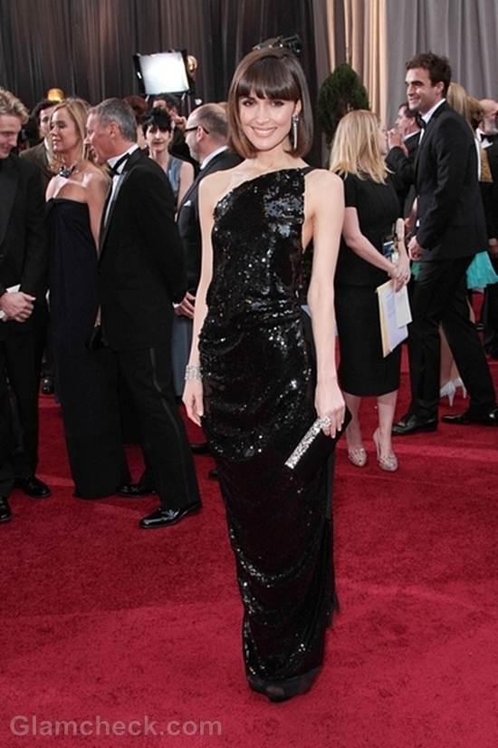 Oscars 2012 celebrities black gray gowns Rose Byrne