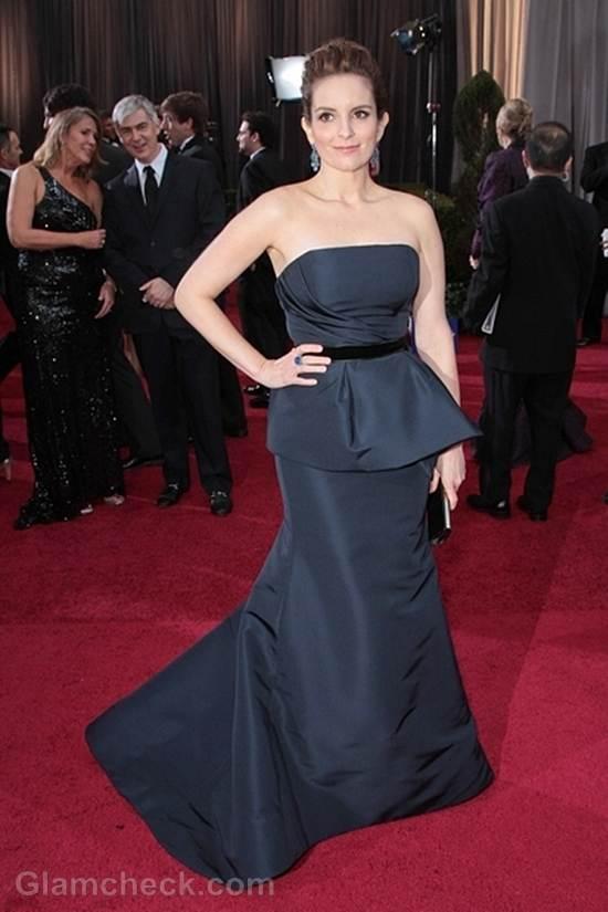 Oscars 2012 celebrities black gray gowns Tina Fey
