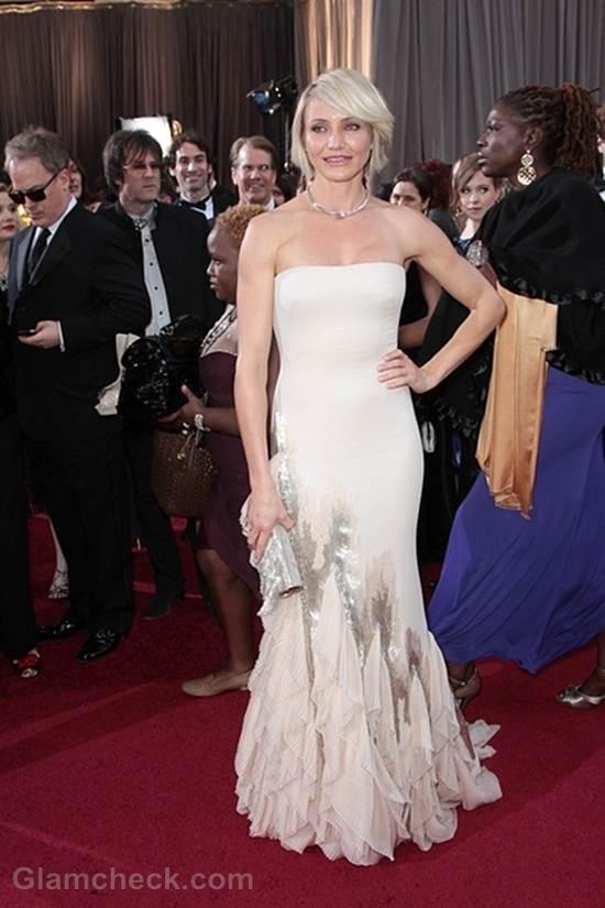 Oscars 2012 celebrities white gowns Cameron Diaz
