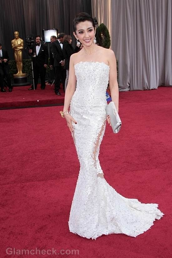 Oscars 2012 celebrities white gowns Li Bing Bing - ENTERTAINMENT