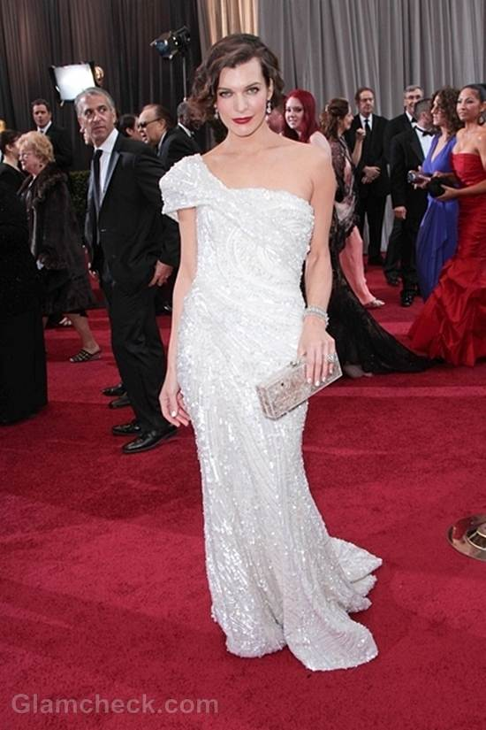 Oscars 2012 celebrities white gowns Milla Jovovich