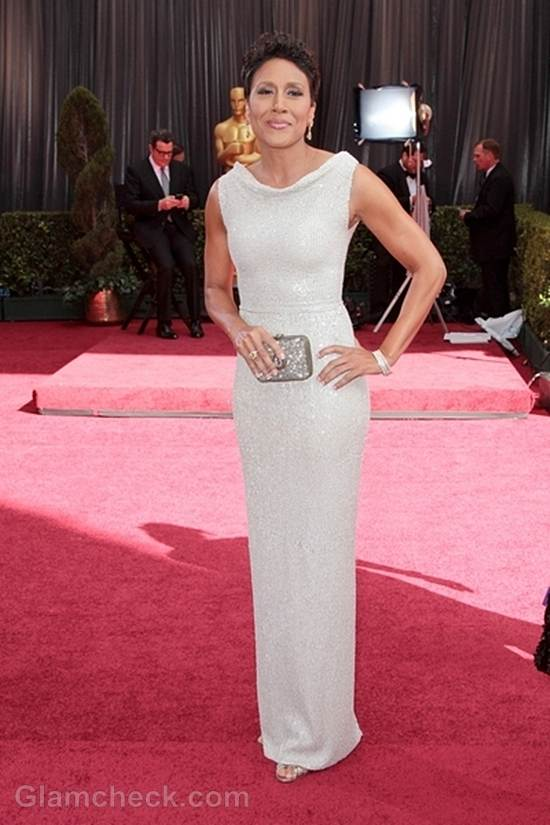 Oscars 2012 celebrities white gowns Robin Roberts
