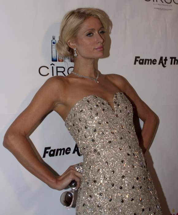 Paris Hilton In Glittery Frock at Grammys Afterparty