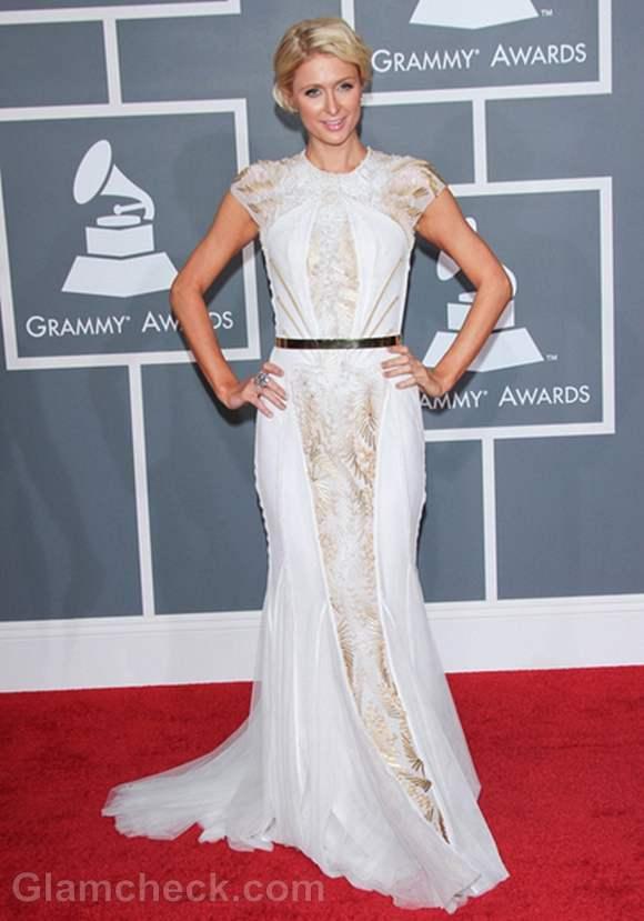 Paris Hilton White Gown at 2012 Grammy Awards