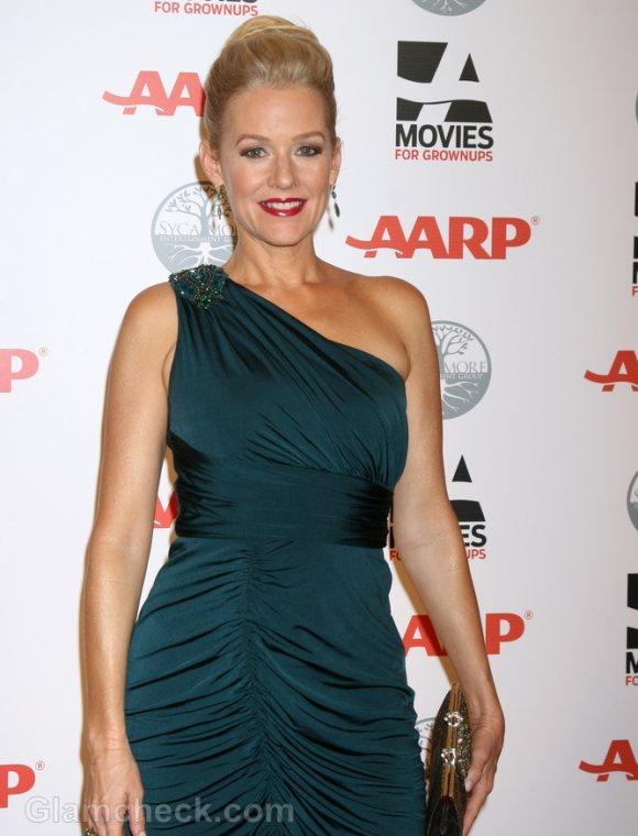 Penelope Ann Miller Glamorous in One-shoulder Turquoise Dress