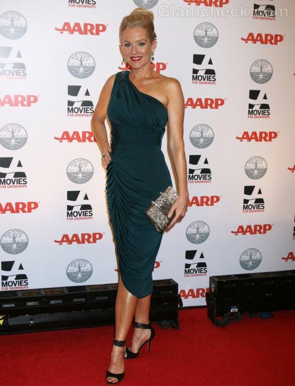 Penelope Ann Miller One-shoulder Turquoise Dress