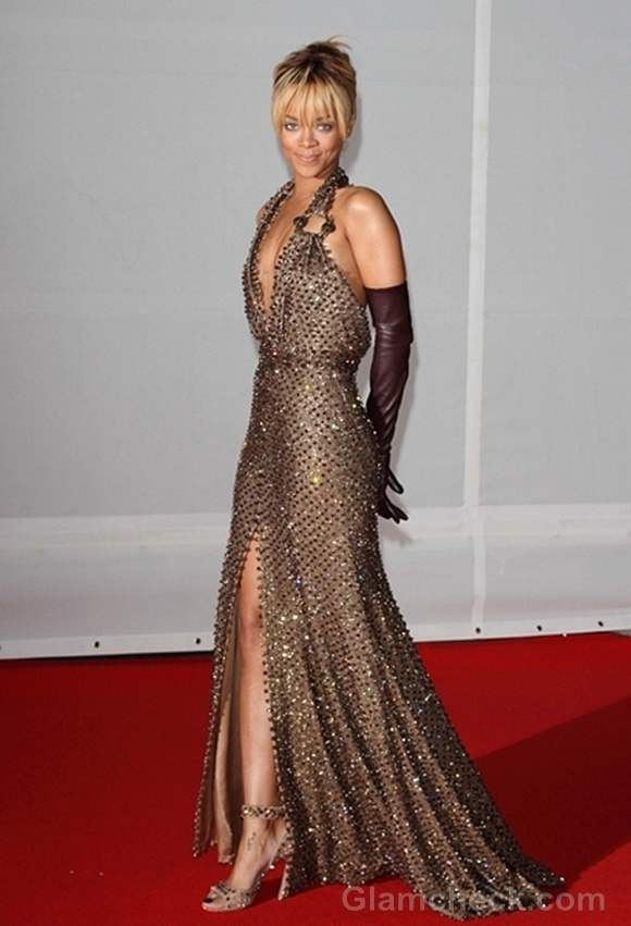 Rihanna Bronze Gold Sequin Gown BRIT Awards 2012