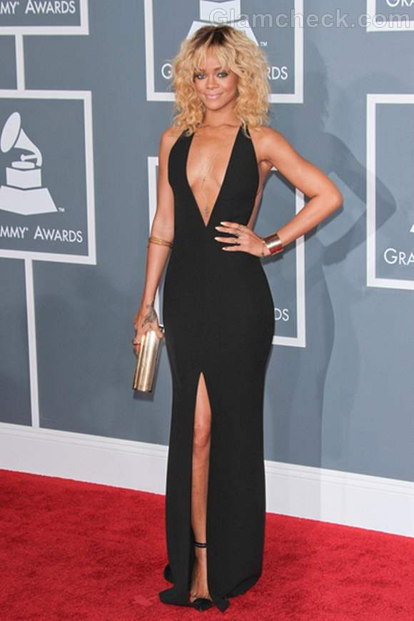 Rihanna Sultry in Daring Black gown 2012 Grammy Awards