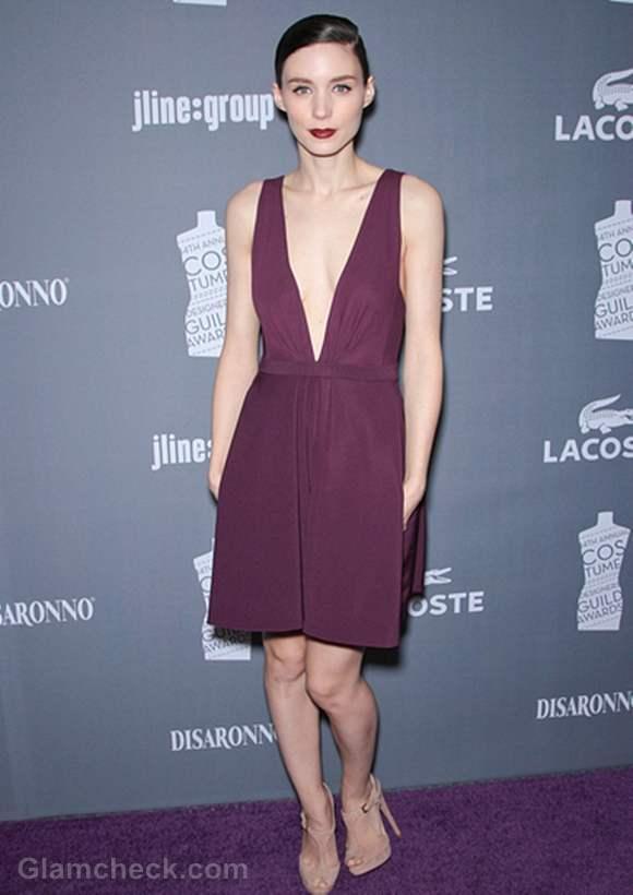 Rooney Mara Revealing Burgundy Frock Costume Designers Awards