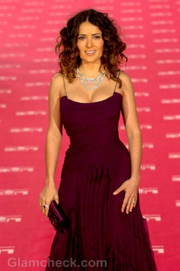 Salma Hayek Berry-colored Gown at Annual Goya Awards