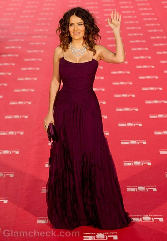 Salma Hayek Magnificent in Berry-colored Gown at Annual Goya Awards