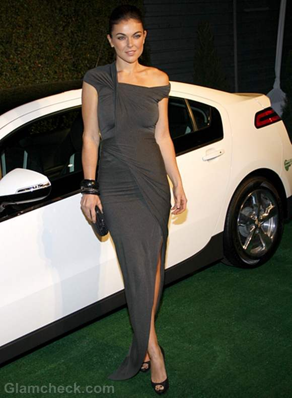 Serinda Swan  Grey Gown at Pre-Oscar Party