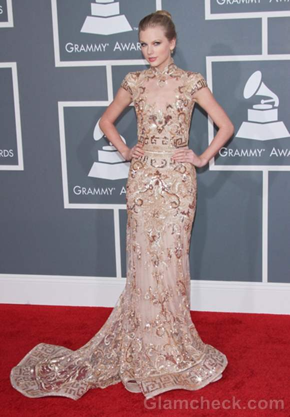 Taylor Swift  2012 Grammys Sequined Gold Gown