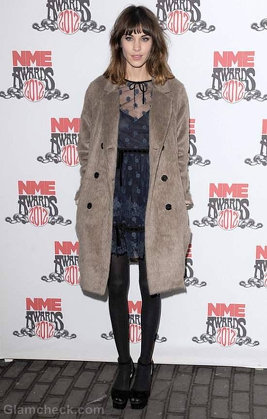 Alexa Chung Sports Sweet Blue Dress at NME Awards