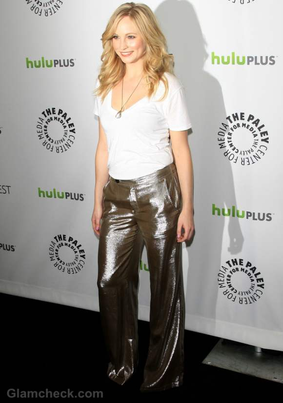 Candace Accola Shimmers in Silver Pants