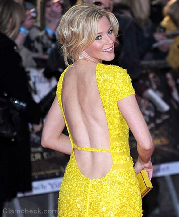 Elizabeth Banks  in Yellow Gown Hunger Games Premiere