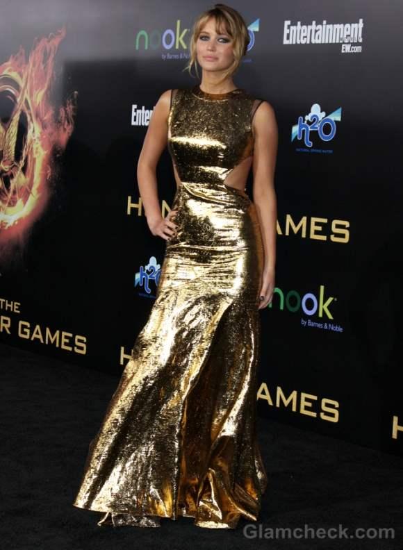 Jennifer Lawrence Metallic Dress Hunger Games LA Premiere
