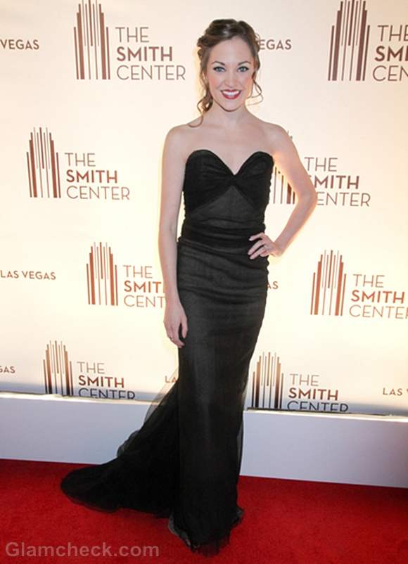 Laura Osnes Black gown at Smith Center Opening Night