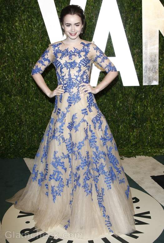 Lily Collins Princess Gown at Oscars Party