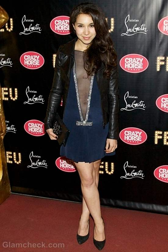 Sofia Manousha Daring Neckline Dress at Feu Premiere