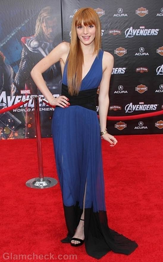 Bella Thorne dual-tone dress at Marvels The Avengers Premiere