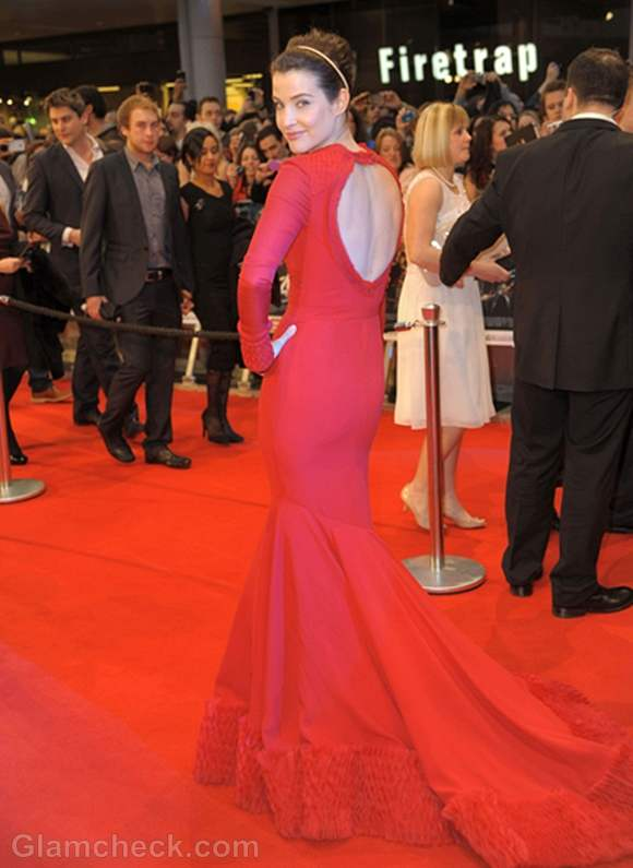 Cobie Smulders red backless gown