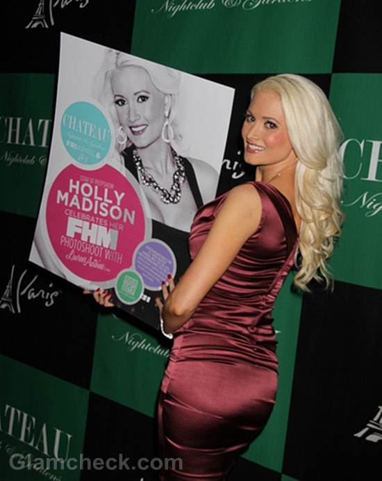 Holly Madison Sexy in Plum Dress at Celebration Dinner