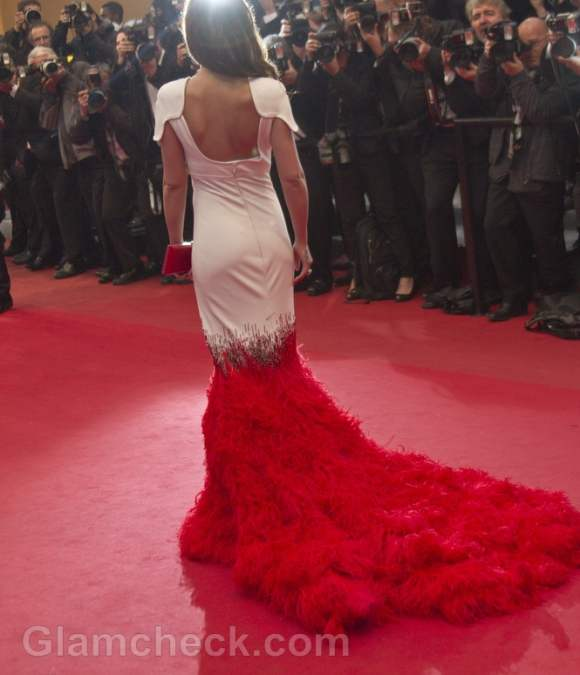 Cheryl Cole red white Gown 2012 cannes film festival