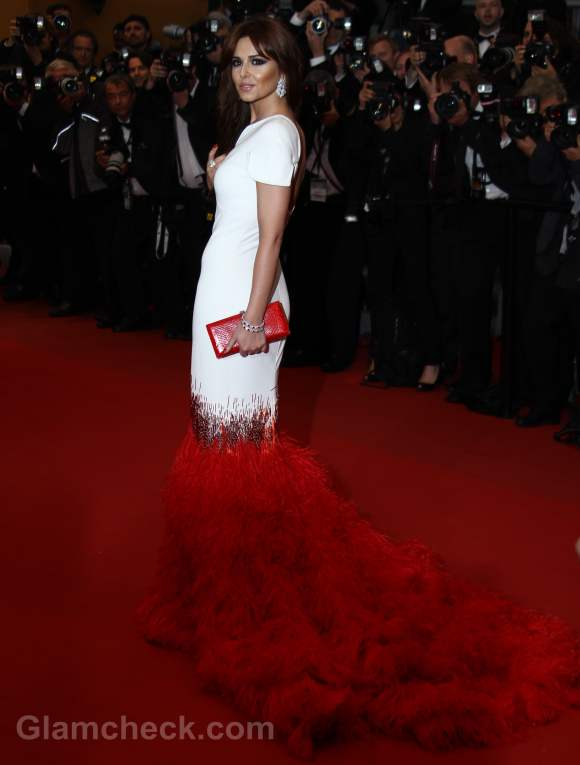 Cheryl Cole red white Gown at 2012 cannes film festival