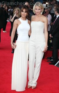 Cole and Diaz in White at What to Expect Premiere