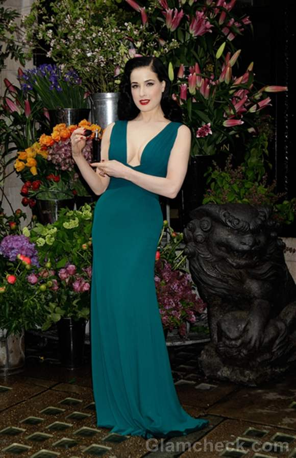 Dita Von Teese Sports Cleavage-Baring Gown at Perfume Launch
