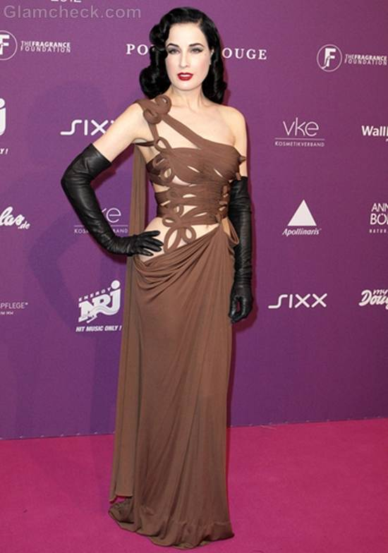 Dita von Teeses in Revealing Couture Gown Duffstars Awards 2012