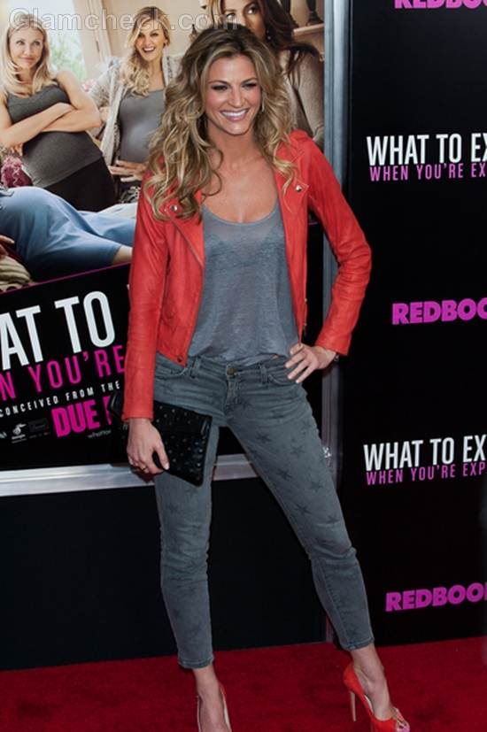 Erin Andrews sexy leather look for NYC Premiere