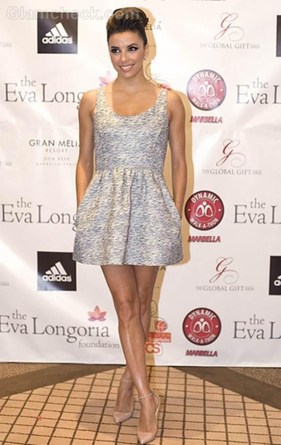 Eva Longoria Pert in Grey Mini at Charity Promo