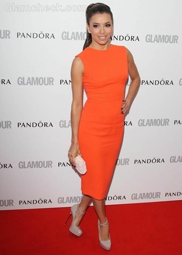 Eva Longoria In Orange Dress At Glamour Women Of The Year