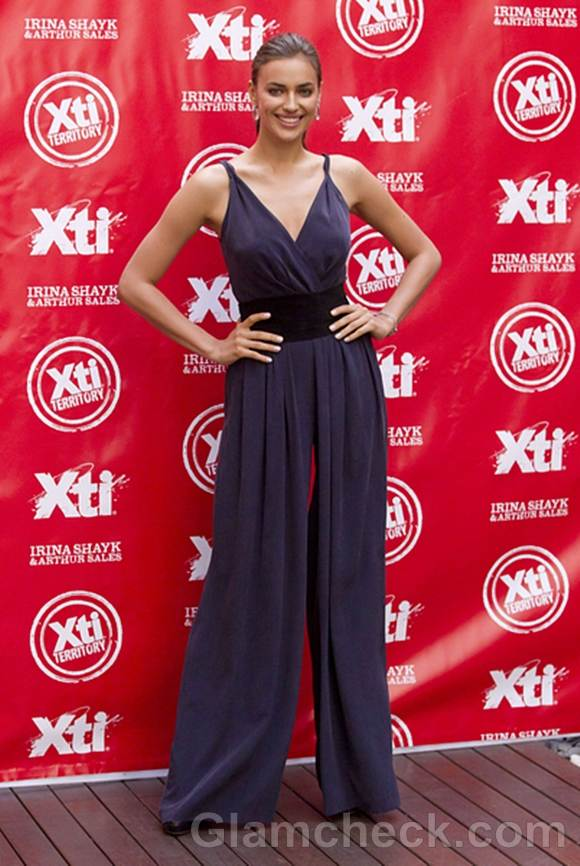 Irina Shayk Blue Jumpsuit at XTI Shoes Promotion