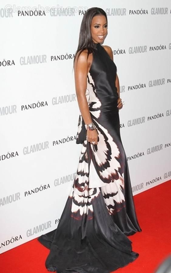 Kelly Rowland black halterneck gown