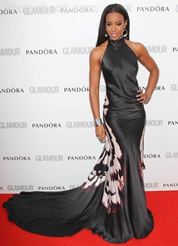 Kelly Rowland in black halterneck gown