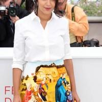 Leila Bekhti Printed Carven Skirt at Cannes Film Festival 2012