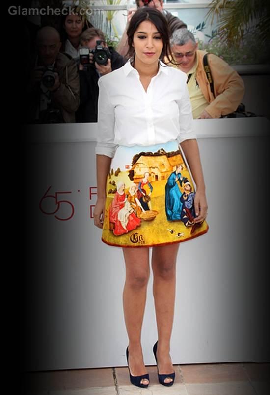 Leila Bekhti Printed Carven Skirt at Cannes Film Festival 2012 day 4