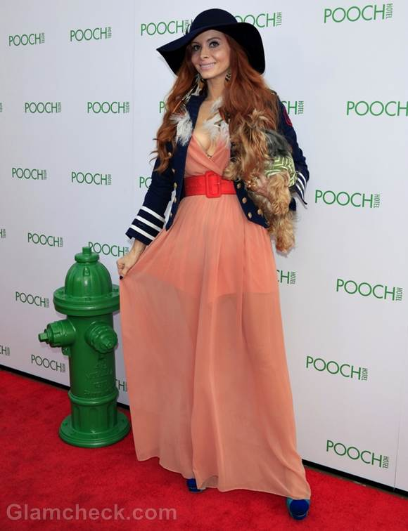 Phoebe Price dog Henry at the opening of the Pooch Hotel