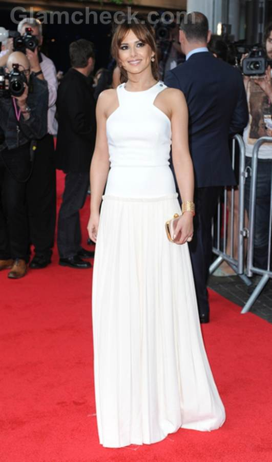 cheryl Cole in White at What to Expect Premiere