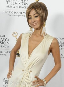 Bai Ling Shines in Sexy Off-white Gown at Emmy Awards
