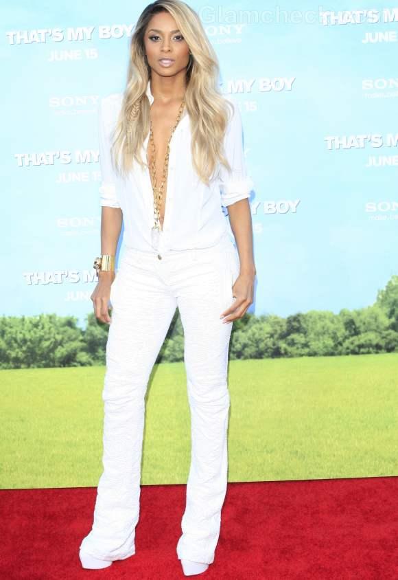 Ciara Harris unbuttons shirt red carpet look-2