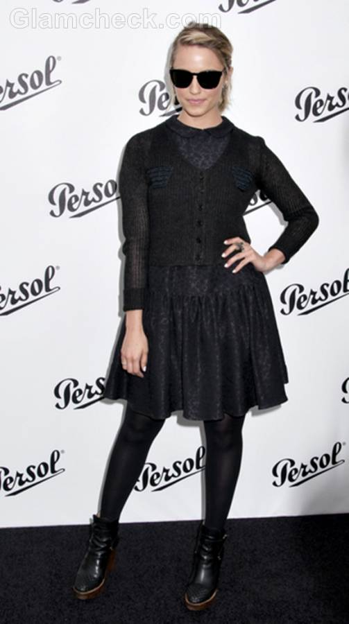 Dianna Agron black outfit