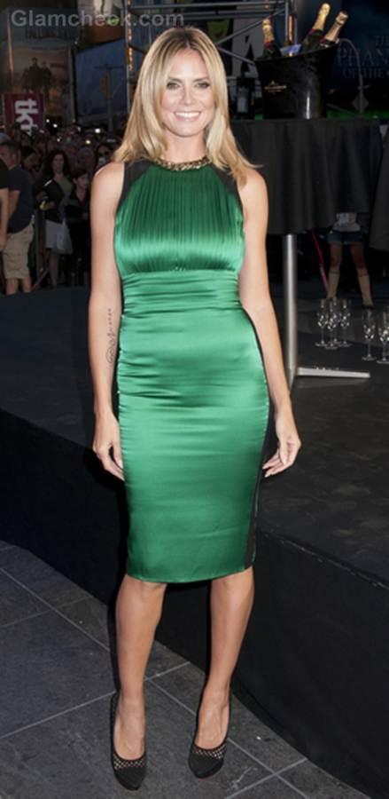 Heidi Klum green dress project runway 10th anniversary