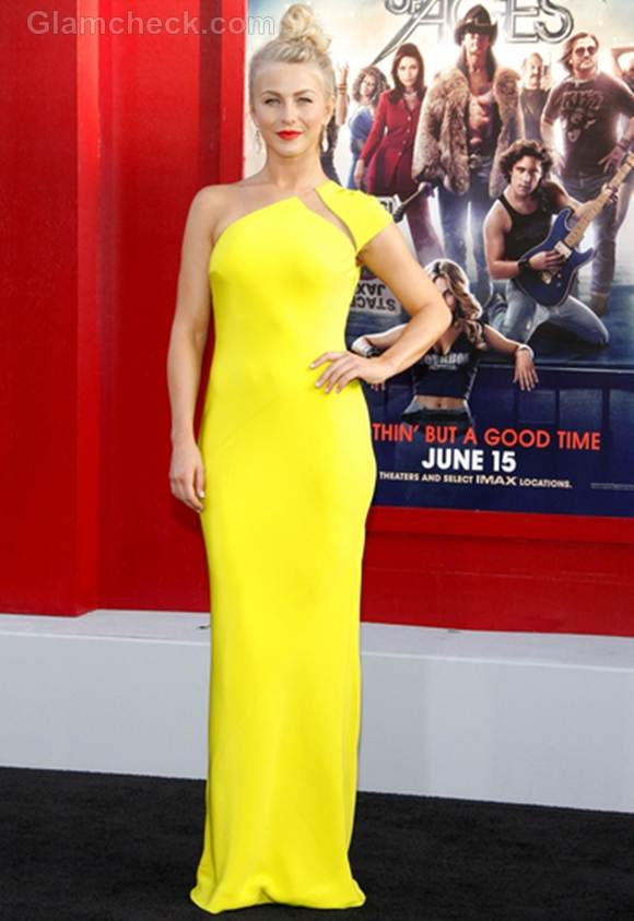 Julianne Hough bright yellow gown Rock of Ages Premiere